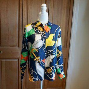 VINTAGE LAUREN RALPH LAUREN Pattern Silk Top (12P)